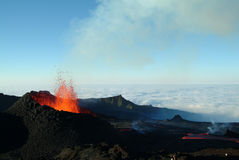 Volcano eruption. In Reunion island stock images
