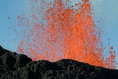 Volcano eruption. In Reunion island royalty free stock photo