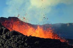 Volcano eruption. In eunion island stock photos