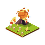 Volcano Eruption Danger. Natural Disaster Icon. Vector Illustration Stock Photography