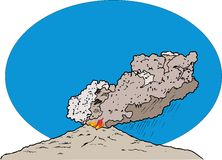 Volcano. Eruption. Figure volcanic eruption. visible fire, smoke, ash. Formed clouds and rain stock illustration