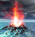 Volcano eruption flame fire virtual scene. 3D render of a fictional landscape with a mountain volcano crack and fantasy burning flames. Doomsday scene Royalty Free Stock Image