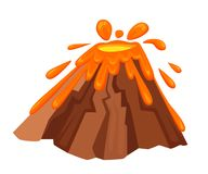 Volcano eruption with hot lava illustration. Geological disasters in cartoon style. Cataclysm color icon. Vector illustration isol. Ated on white background. Web Stock Photography