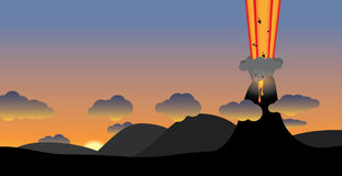 Volcano eruption illustration. Volcano eruption at sunset. editable eps vector Stock Images