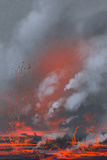 Volcano eruption,lava lake,landscape. Illustration painting Stock Photo