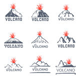 Volcano eruption logo set, vector icons illustration on white background Stock Photography