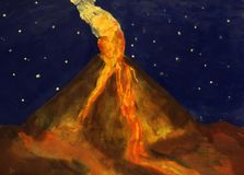 Volcano. The eruption of the volcano at night children's art work Royalty Free Stock Photography
