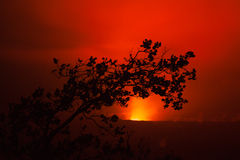 Volcano eruption at night stock photos