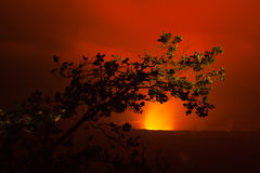 Volcano eruption at night Stock Photo