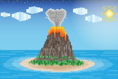 Volcano eruption in the ocean. Elements in the form of puzzle Stock Photo