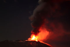 Volcano eruption. Photo of Etna volcano eruption, Sicily, 2013 Royalty Free Stock Image