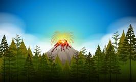 Volcano eruption scene at daytime Stock Image