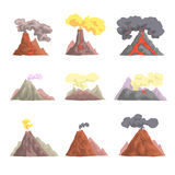 Volcano eruption set, volcanic magma blowing up, lava flowing down cartoon vector Illustrations Royalty Free Stock Photos