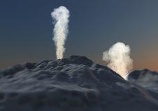 Volcano eruption smoke ashes. Volcanic eruption with smoke and ash Royalty Free Stock Photo