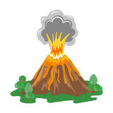 Volcano eruption with smoke and erupting lava. Vector illustration Stock Photo