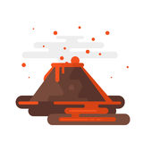 Volcano eruption with smoke and lava. Vector flat style illustration of volcano eruption with smoke and lava. Isolated on white background Royalty Free Stock Image