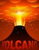 Volcano eruption. Vector cartoon illustration Stock Photos