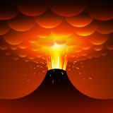 Volcano eruption. Vector cartoon illustration. Eps10. RGB Global colors Royalty Free Stock Photography
