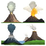 Volcano Eruption on Vector Illustration White. Volcano eruption, flames and burning lava, cloud of smoke and ashes left after it represented on vector Stock Image