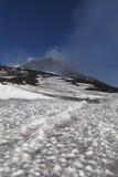 Volcano Etna and black snow. Stock Photo