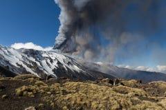 Volcano etna eruption Royalty Free Stock Images
