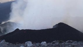 Volcano Etna eruption - explosion and lava flow stock footage