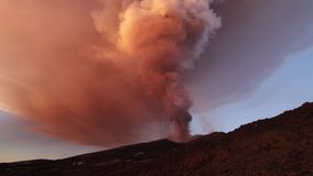 Volcano Etna eruption stock video footage