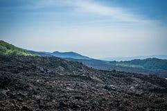 Volcano Etna i misten Arkivbilder