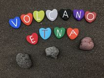Volcano Etna name with colored heart stones royalty free stock image