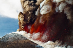 Volcano Etna-uitbarsting royalty-vrije stock afbeelding