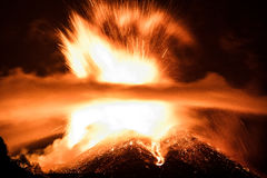 Volcano Etna-uitbarsting Stock Foto's