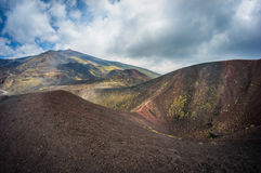 Volcano Etna view. With sky and clouds in Sicily, Italy Stock Image