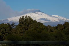 Volcano etna. Winter smoldering volcano etna, sicily royalty free stock photos