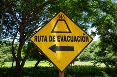 Volcano Evacuation Sign royaltyfri fotografi