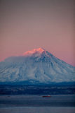 Volcano in the evening light stock image