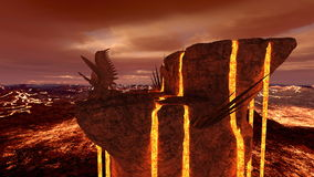 Volcano fort. 3D CG rendering of the volcano fort Royalty Free Stock Photography