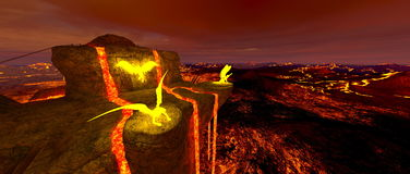Volcano fort. 3D CG rendering of the volcano fort Royalty Free Stock Image