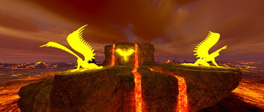 Volcano fort. 3D CG rendering of the volcano fort Royalty Free Stock Images