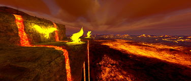 Volcano fort. 3D CG rendering of the volcano fort Royalty Free Stock Photos