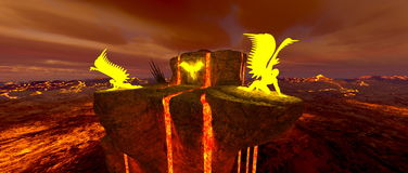 Volcano fort. 3D CG rendering of the volcano fort Stock Photography
