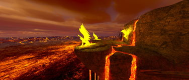 Volcano fort. 3D CG rendering of the volcano fort Royalty Free Stock Photo