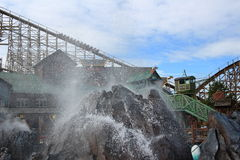 Volcano water fountain Theme Park scenery Stock Photos