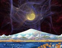 The volcano of Fujiyama, Japan. stock illustration