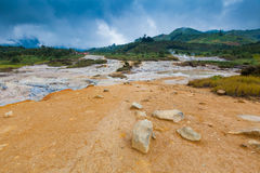 Volcano Geyser on Plateau Dieng National Park, Java, Indonesia Royalty Free Stock Image