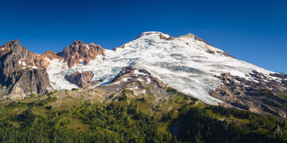Volcano with glaciers. Beautiful landscape of snowy peak with glaciers Royalty Free Stock Photos