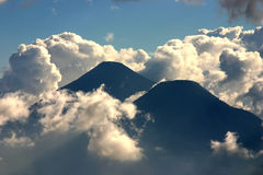 Volcano in Guatemala. Two volcanoes near Antigua in Guatemala Stock Photos