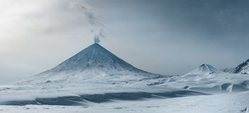 Volcano, hill, eruption, Kamchatka, mountain, the highest point, crater royalty free stock image