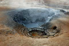 The Volcano in Iceland. Extinct volcanic cones of yellow colour in the north of Iceland Royalty Free Stock Images