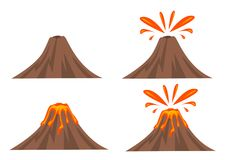 Volcano Icon Set. On White Background Stock Image
