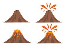 Volcano Icon Set stock illustration